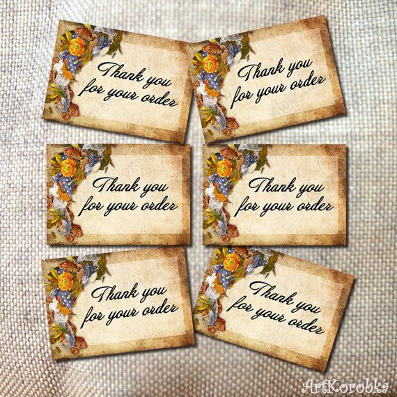 Antique Chic THANK YOU cards  Vintage Thank You Tags by Artkorobka