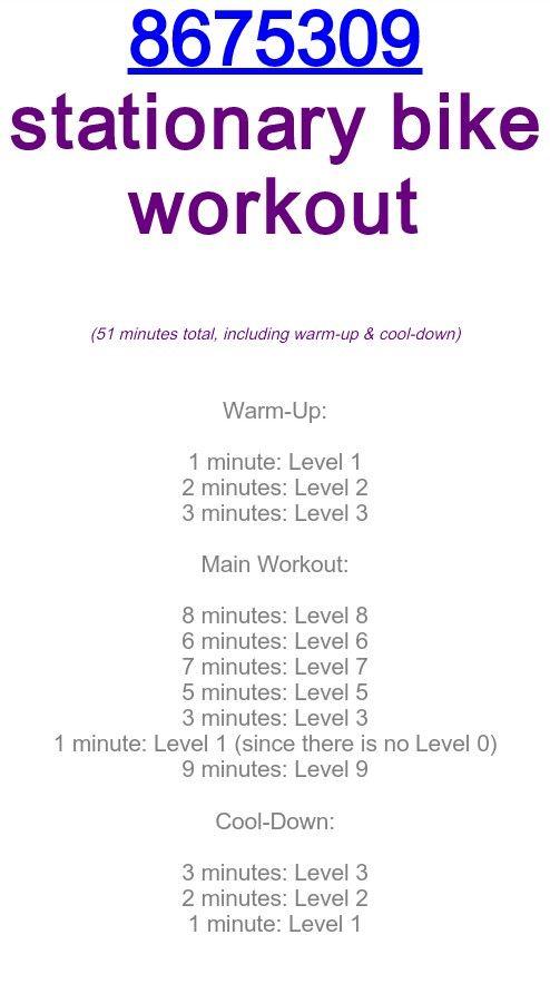 867-5309 recumbent bike workout [TOTAL MILEAGE: 10.57 mi]