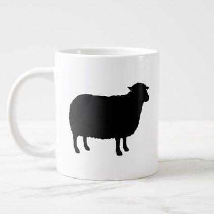 Black Sheep Silhouettes Giant Coffee Mug - animal gift ideas animals and pets diy customize