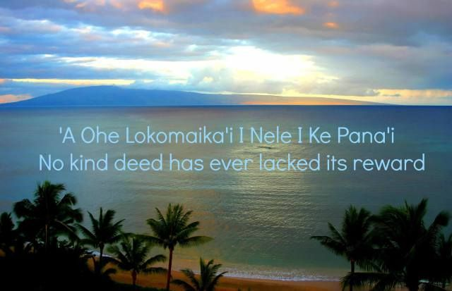 "Hawaiian Proverbs ""No kind deed has ever lacked its reward"" #quote"