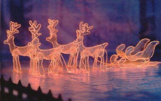 Christmas Rope Lights - Reindeer Pulling Sleigh