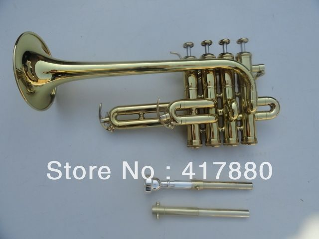 345.33$  Watch here - http://alijn2.worldwells.pw/go.php?t=32709931358 - Bach Bb Piccolo Trumpet  Three Tone Trumpete  Monel Piston Surface Gold Lacquer Musical Instruments