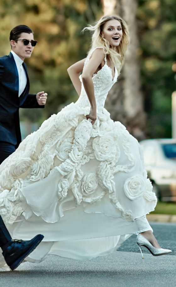 Textured wedding ball gown