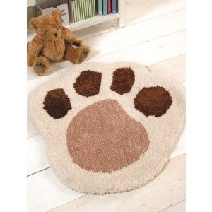 Paw Print Children's Rug. Cute super soft rug is available in four animal designs which are Teddy Bear, Puppy, Monkey and Lamb. Made from 100% Polyester. http://www.therughouse.co.uk/childrens-rugs/cuddly-ultra-soft-non-shed-fleecy-paw-print-beige-rug-nursery.html