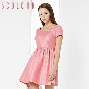 [Proiectat pentru] primăvară nou 2015 după o perioadă de trei culori de înaltă talie sexy V-gât rochie cu mânecă scurtă de culoare a fost subțire solid doamnă feminin