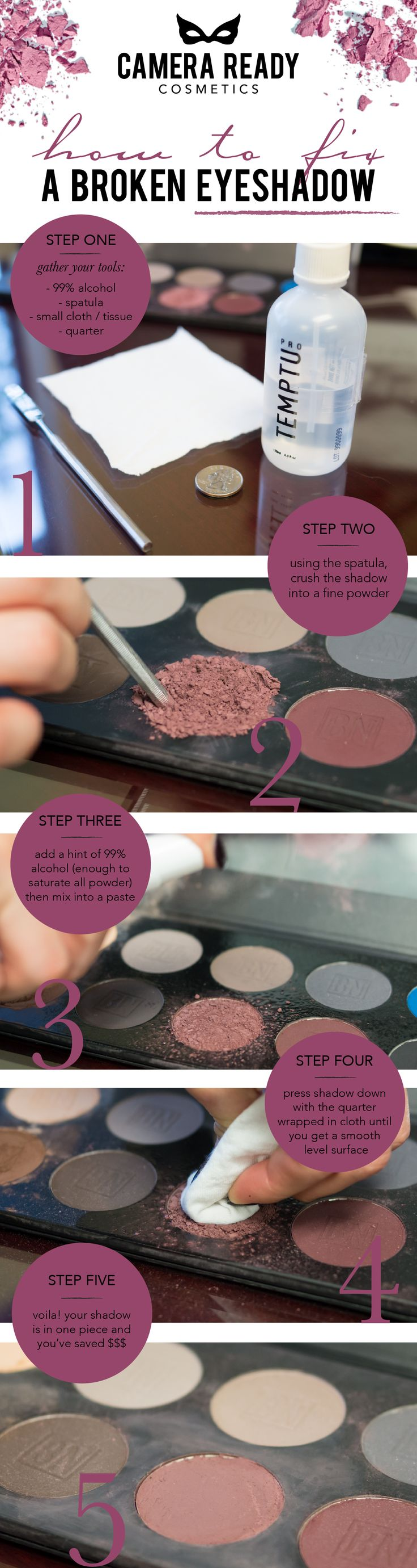 Broke your precious eyeshadow? Don't worry, darling! Here's how to fix it. #CRCMakeup