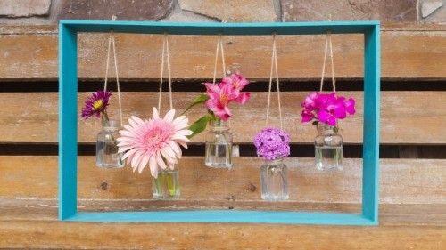 Decorative DIY Hanging Vases In A Frame | Shelterness