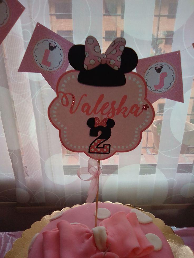 Topper de torta y banderines de Minnie rosada