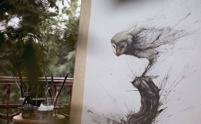 Фото: Картины, объединяющие китайскую живопись и уличное искусство (Фото)