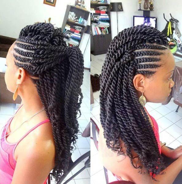 Side Cornrows + Kinky Twists Style http://www.shorthaircutsforblackwomen.com/coconut-oil-for-hair