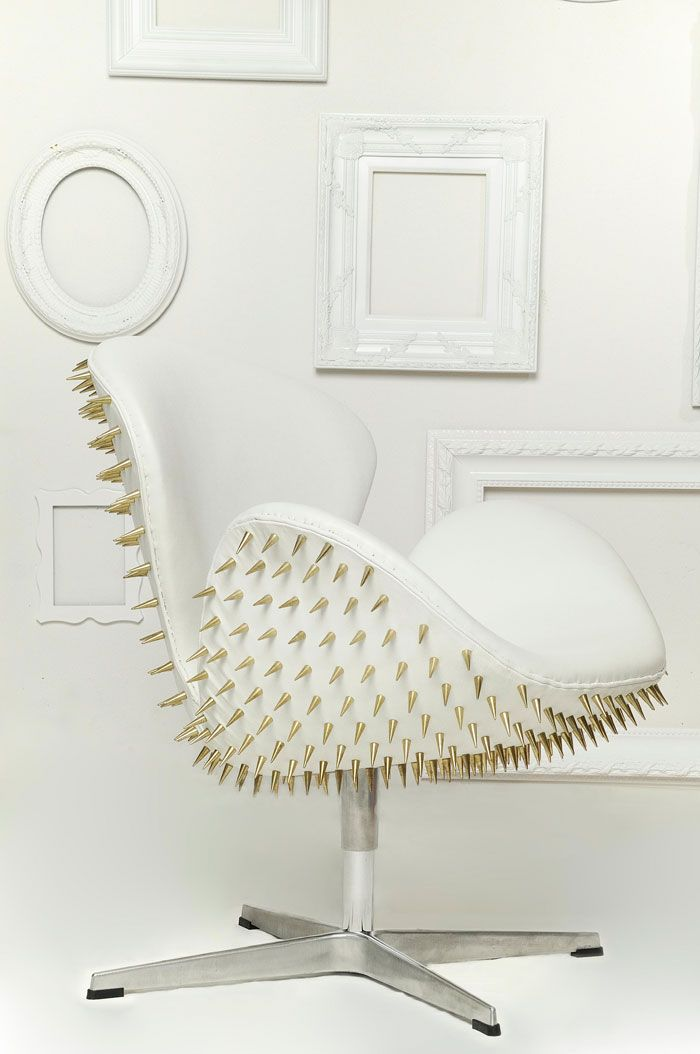 Spikes + Studs // Studded Fred Lives Here Jacobson Swan Chair // Brass +  Leather Nice Design