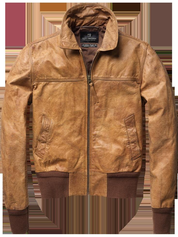Scotch & Soda Short Leather Bomber Jacket.
