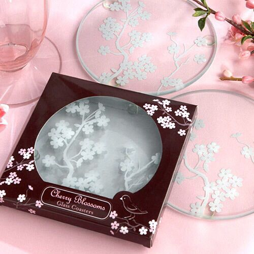 Cherry Blossoms Frosted Glass Coasters Set Of Find This Pin And More On Wedding Favors