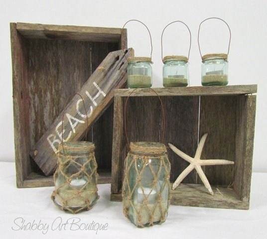 Coastal Chic glass candle lantern tutorial-For my bathroom