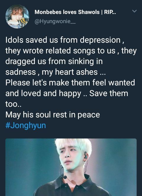 Rest in peace, beautiful soul...my SHAWOL heart is breaking. Love SHINee so much...much love to Key, Onew, Minho and Taemin at this time as well as to Jonghyun's family...