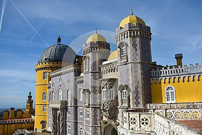 The Pena Palace from Sintra visited on a sunny day in January.
