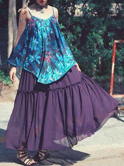 Multicolor Sleeveless Swing Maxi Dress