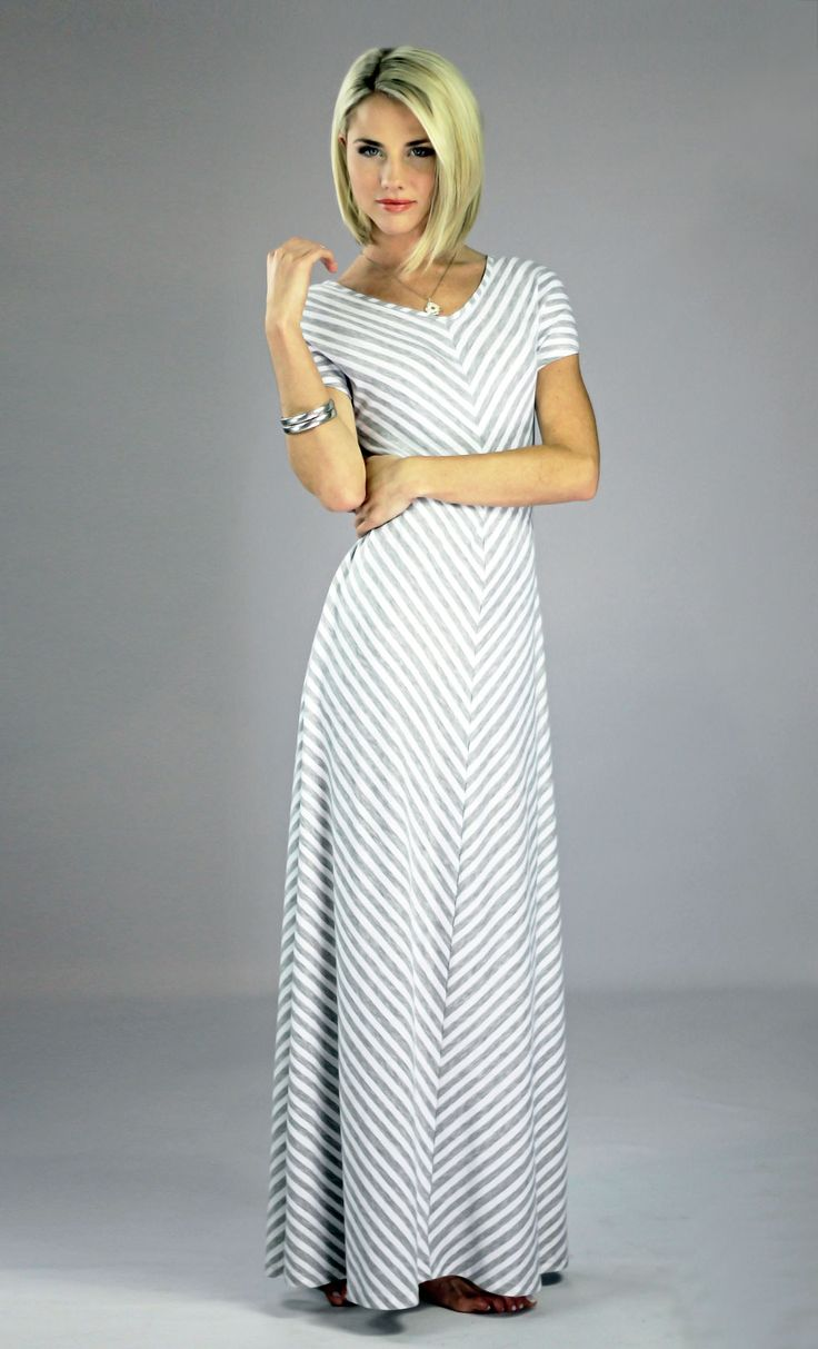 Makenna Maxi Dress in Grey Stripes - This site has modest dresses, skirts, tops, and swimwear