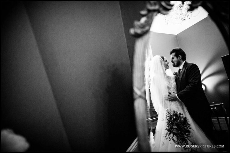 A quiet moment for the Bride and Groom at Fetcham Park before greeting their guests -