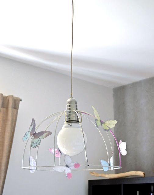 mommo design: RECYCLE AND DECOR - Vintage lamp frame with paper butterflies