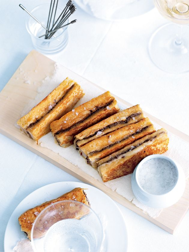 Fried Mozzarella and Olive Finger Sandwiches