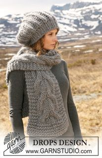 """Set comprises: Knitted DROPS hat in English rib and scarf with cables in """"Polaris"""". ~ DROPS Design"""