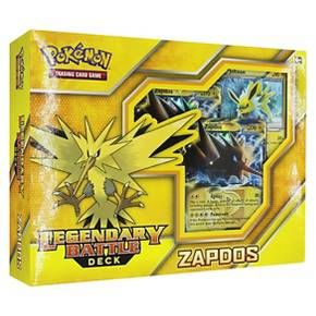 Get ready for a legendary battle! Lead the electric Pokemon Zapdos into battle with the Pokemon Trading Card Game: Legendary Battle Deck! This 60-card deck is ready to play right away, with powerful cards and winning strategies worthy of an ace Trainer. Let the battle begin! Include are a 60 card battle deck, 1 metallic coin, 2-player playmat and rulesheet, 1 code card to play this deck online, 1 deck box, damage counters, and 1 quick guide to unlock the powerful strategies within.
