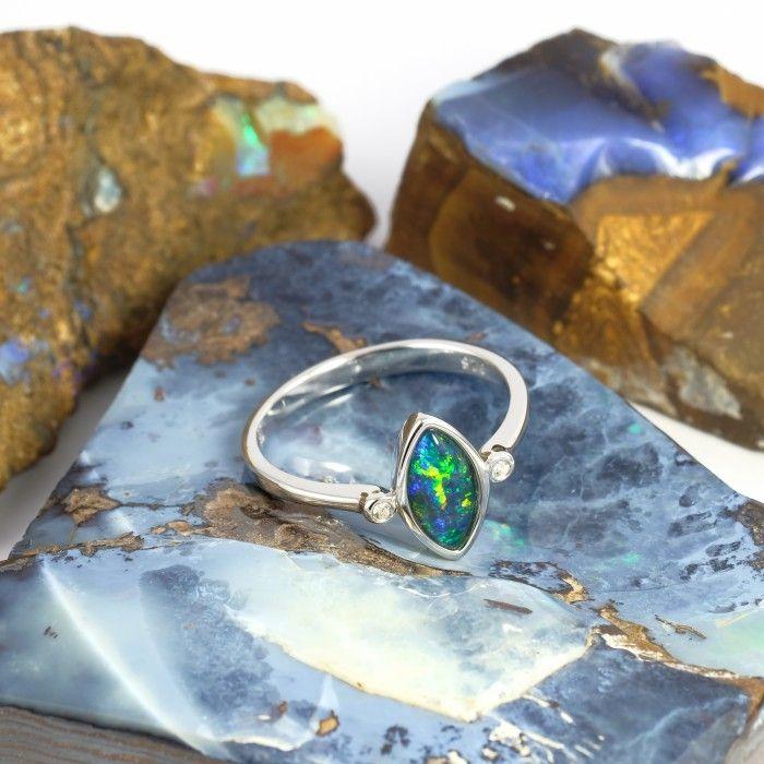 Bright Radiance Sterling Silver Australian Opal Ring Silver Opal Ring Opal Rings Black Opal Ring