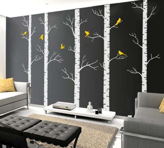 So Hannah and I are planning on getting an apartment for next semester, and I think I found my dream wall for my bed room:] Yellow gray and black!