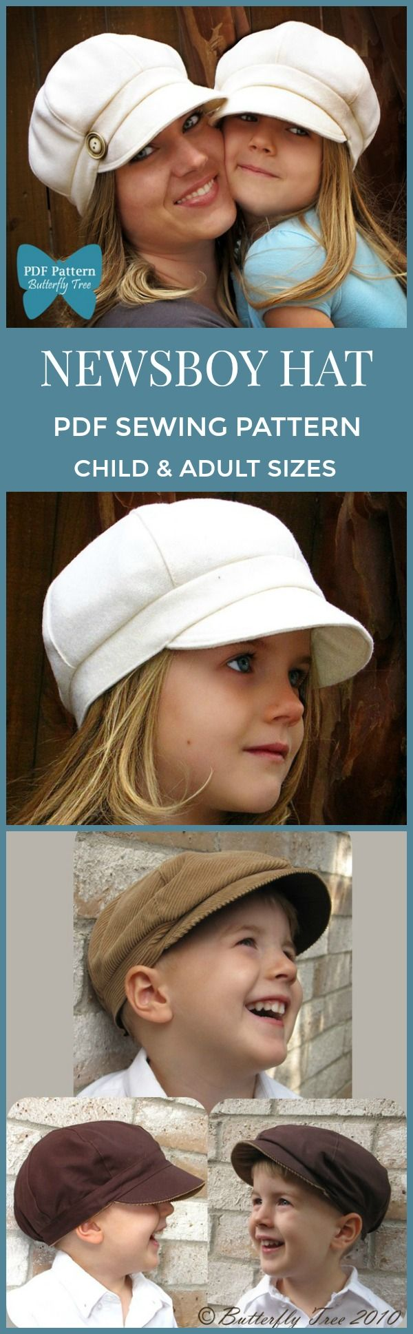 Such a cute hat! Newsboy style hat PDF SEWING pattern Adult/child combo #affiliate