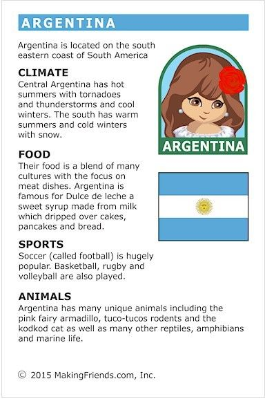 MakingFriends Facts about Argentina Printable Thinking Day fact card for our passports. Perfect if you chose Argentina for your Girl Scout Thinking Day or International Night celebration.