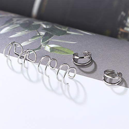 Joerica Silber Wrap Ohr Manschette Ohrringe set Clip auf gefälschte Nase Lippe Tragus Helix Ring nicht piercing Körperschmuck 8 Paare   – Products