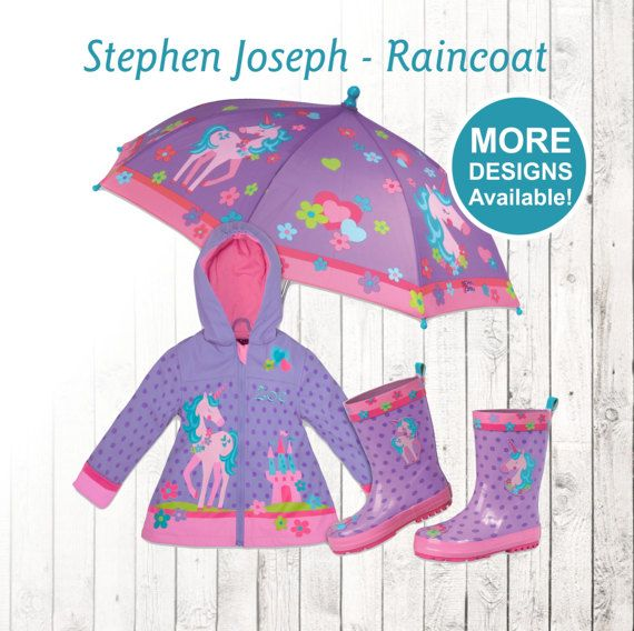 UNICORN - Personalized RAIN COAT with optional Rain gear ---- Get your little ones ready for the weather with matching raincoats, rain boots, and umbrellas. These super cute raincoats come in a variety of colorful designs for both girls and boys. We will personalize your childs