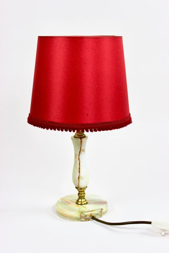 Vintage Lampe Tischlampe Stofflampe Onyx Und Messing Etsy Lamp Bases Small Floor Lamps Vintage Lamps