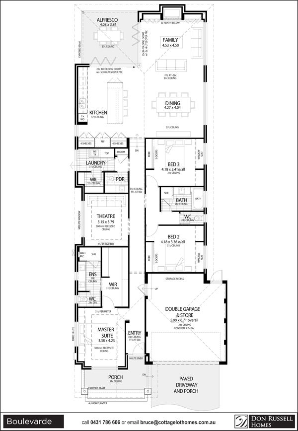 Single level narrow lot house plans