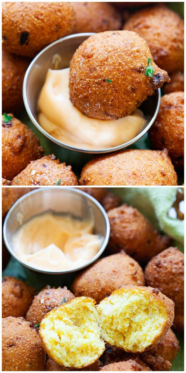 Hush Puppies Fried Croquettes Made With Cornmeal And Onion