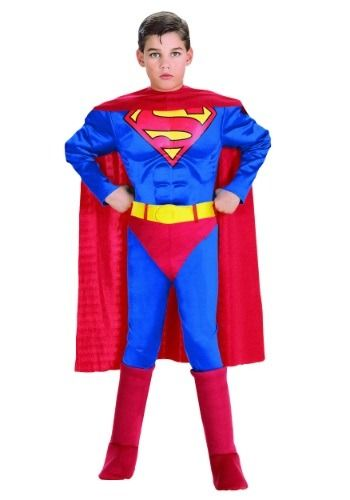 Our child deluxe Superman costume has a muscle chest that will help you get that buff superhero look you want. A fun kids Superman Halloween costume.
