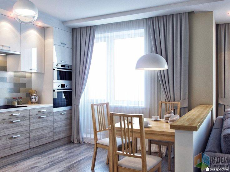 Серая маленькая кухня с текстурой дерева