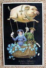 AK NEUJAHR fliegendes Schwein als Luftschiff Gondel mit Vergissmeinicht (61492