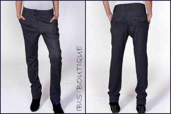 Elegant straight leg gray woman pants Pompeii
