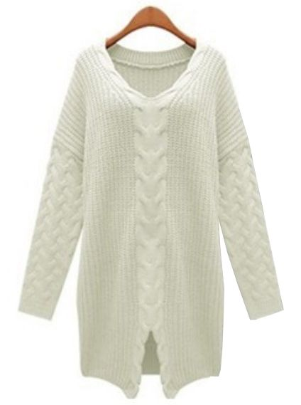 Ivory V Neck Long Sleeve Cable Knit Sweater
