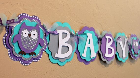 Owl Name or It's A Girl Banner Purple Turquoise by PaisleyGreer, $26.00
