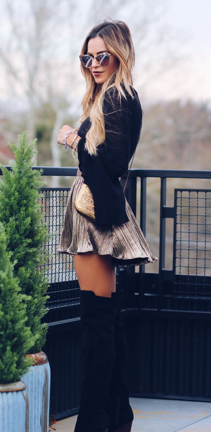 #winter #outfits women's black cardigan and brown mini dress. Click To Shop This Look.