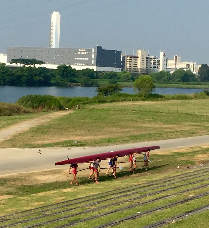 荒川での練習を終えて。 Morning practis at Arakawa River.