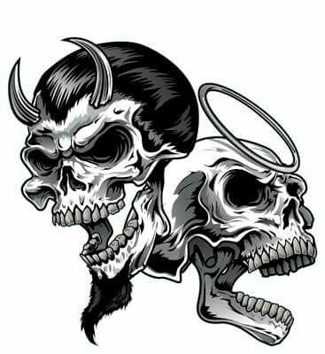Skull with horns and another  skull with a halo