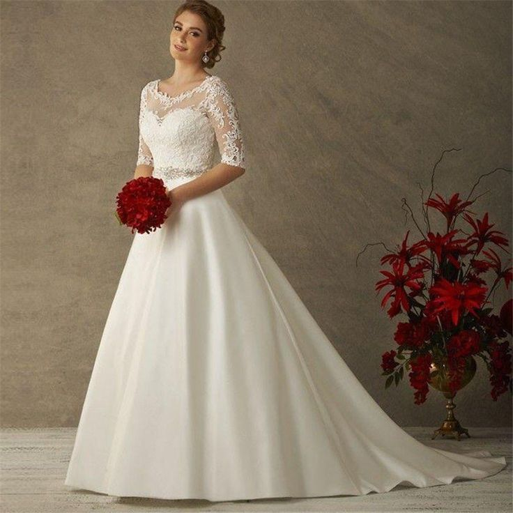 Satin A Line Wedding Gown with Scoop Neck Sheer Lace Overlay & Half Sleeve