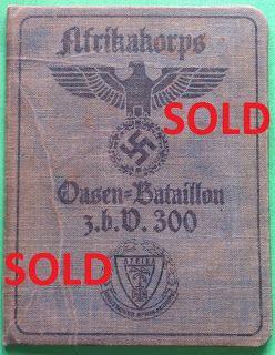 WEHRMACHT OASIS SPECIAL PURPOSE BATTALION 300 AFRIKAKORPS SOLDBUCH ID CARD WEHRPASS PRICE $125