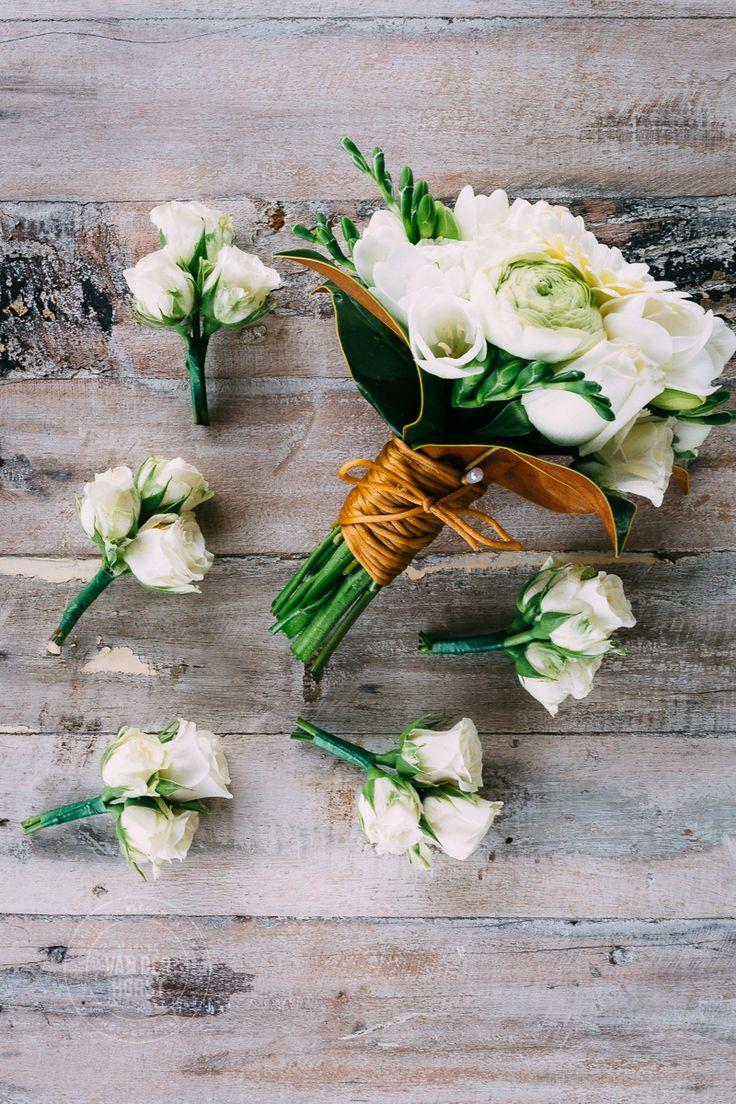 White Tulip, White Rose, White Daisy, Modern Bouquet, orange twine, rustic with matching buttonholes.  www.marcelvanderhorstphotographer.com