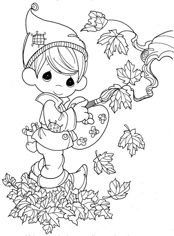 Precious Moments Autumn Coloring Page