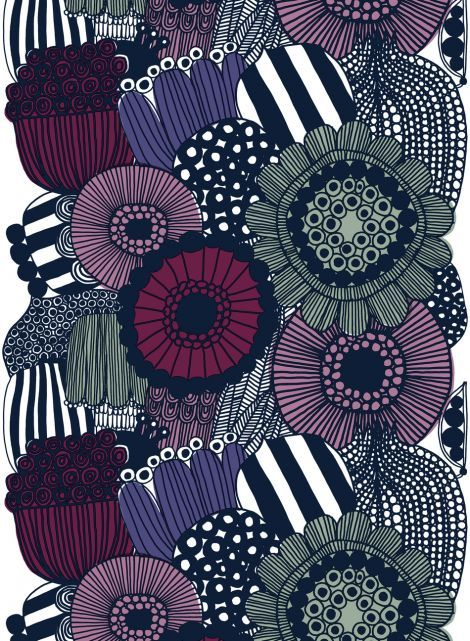 Siirtolapuutarha - Vahakangas (valkoinen, violetti, harmaa) |Kankaat, Vahakankaat | Marimekko